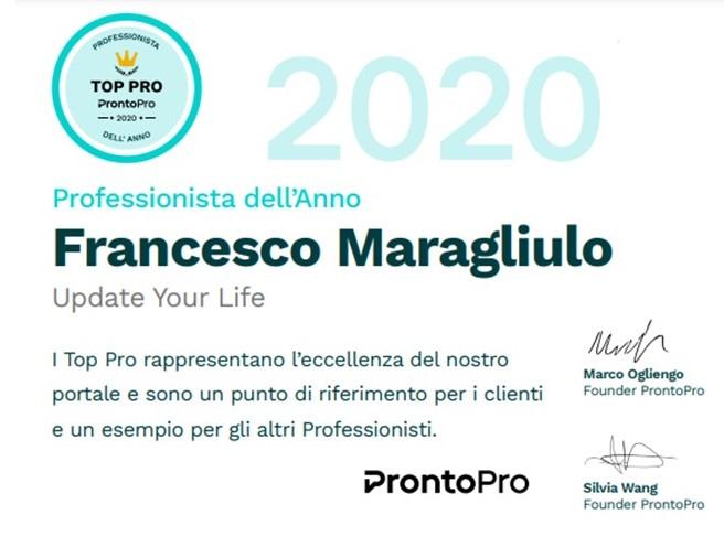 Life Coach selezionato come Professionista Dell'Anno 2020 dal team di ProntoPro.it